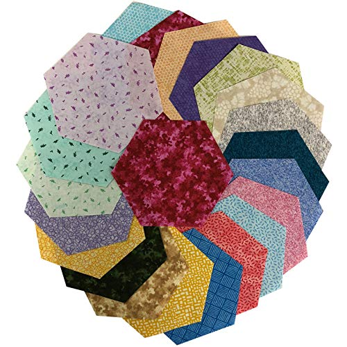 Midwest Textiles Sit 'n Sew Precut Quilters Stash 5'' Hexagon 42 Piece Spring Fabric, Blender
