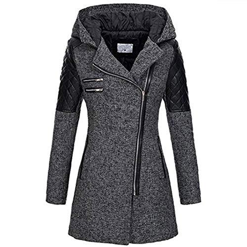 Trenchcoat 2019 nieuwe wollen mantel met capuchon, type herfst en winter, voor dames, parka met wollen riem