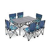 Mesa de camping con 6 sillas de silla Portátil Huevo Roltable Ocio Camping Picnic Aleación de aluminio Al aire libre Plegable Pesado Mesa y silla Set para jardín de cocina interior al aire libre