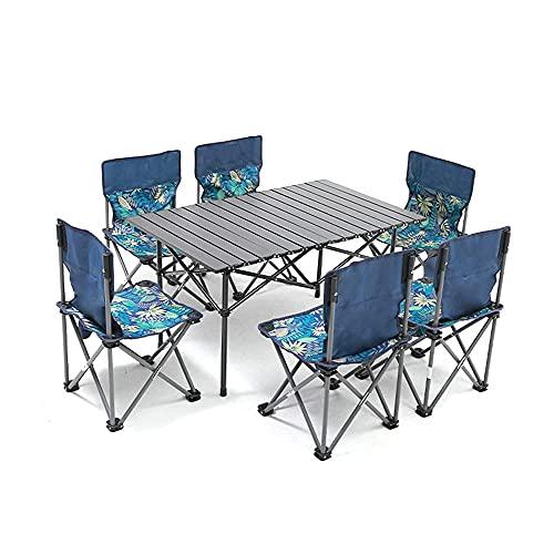 Juego de Mesa y sillas de jardín Mesa y sillas de Camping portátiles Plegables 6 sillas y 1 Mesa de Fiesta de Barbacoa Plegable para Catering con Caballete de Picnic para jardín, Patio