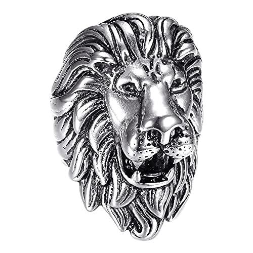 Bobijoo Jewelry – Anillo de hombre con cabeza de león, estilo vintage, plata y negro, acero inoxidable, 70 gramos,