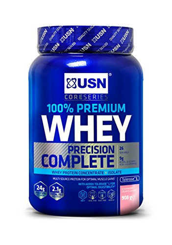 USN 100 Percent Whey Protein Strawberry 908 g: Muscle Building and Recovery Whey Isolate Protein Powder