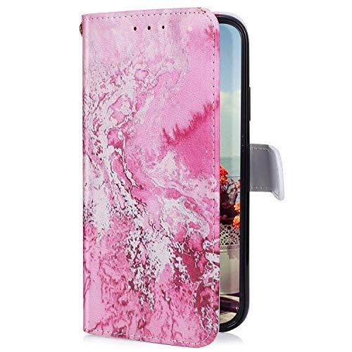 Uposao Kompatibel mit Samsung Galaxy A51 Hülle mit Bunt Muster Motiv Brieftasche Handyhülle Leder Schutzhülle Klappbar Wallet Tasche Flip Case Ständer Ledertasche Magnet,Meer