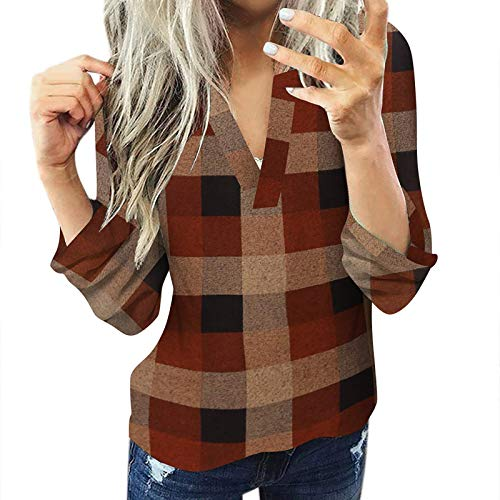 VJGOAL Women Hoodies Casual Blouse Cotton Pullover Long Sleeve Plai Pullover Slim Jacket Shirt Top Coffee