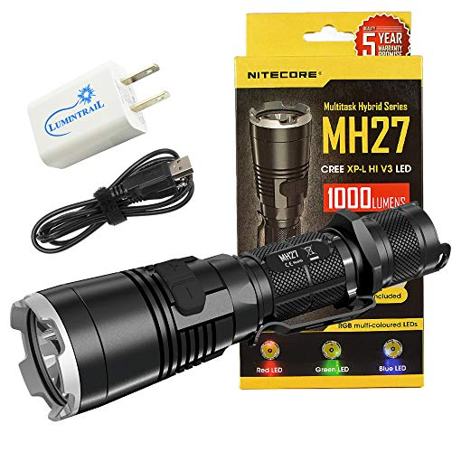 Nitecore MH27 USB Rechargeable Tactical Flashlight  RGB 1000 Lumen Light Bundle with a Lumintrail Wall Adapter
