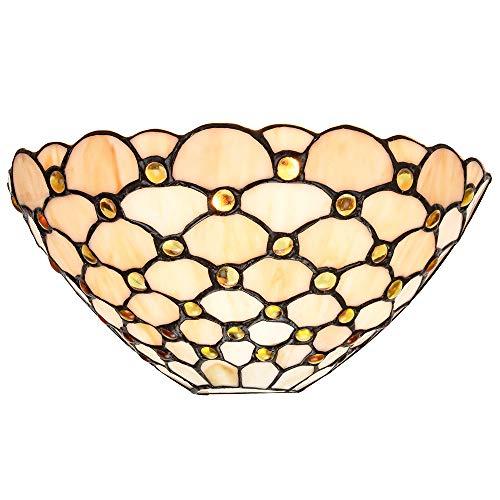 Traditionelle Tiffany Wandleuchte aus Bernsteinglas mit mehreren runden Perlen von Happy Homewares