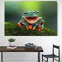 """キャンバス上の絵画かわいい木のカエル笑う壁アートポスターとプリントアートワークの写真寝室のリビングルームの家の装飾27.5""""x35.4""""(70x90cm)フレームレス"""