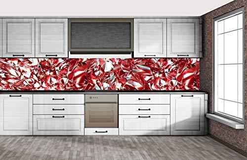 DIMEX LINE Küchenrückwand Folie selbstklebend ROTER KRISTALL | Klebefolie - Dekofolie - Spritzschutz für Küche | Premium QUALITÄT - Made in EU | 350 cm x 60 cm