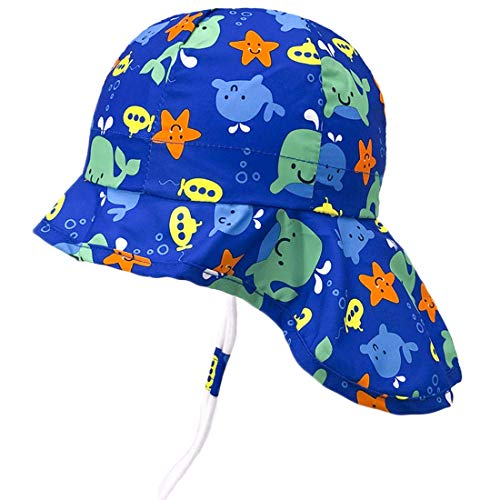 Sonnenhut mit Nackenschutz für Baby Mädchen Jungen Anti-UV UPF50+ Sommerhut für Strand, Schwimmbad, Angeln, Reise, Ausflug Hut mit Kinnriemen verstellbar