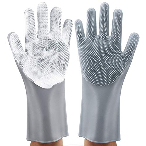 Magic washing Gloves, Reusable Silicone Dishwashing Gloves with Scrubbers for Kitchen, Bathroom Cleaning, Pet Hair Care, Car Washing, 1 Pair, Gray