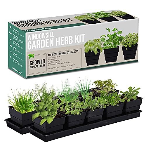 Window Garden Kit 10 Culinary Herbs - Indoor Organic Herb Growing Kit - Kitchen Apartment Windowsill...