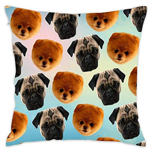N / A Pug + Pom Pattern Cotton Throw Pillows Cover Cushion Cover for Couch for Home Bedroom Living Room Sofa Decor