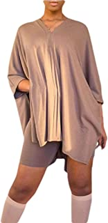 desolateness Women 2 Piece Outfits V Neck Batwing Sleeve Asymmetrical T-Shirt Top Bodycon Shorts