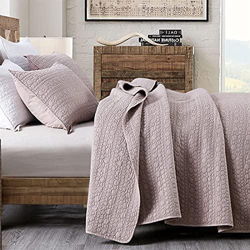 HORIMOTE HOME Tagesdecke für Doppelbett, Cameo Rose, klassische geometrische Punkte, genähtes Muster, StoneWashed Mikrofaser, gesteppte Tagesdecke für alle Jahreszeiten, 3-teiliges Set