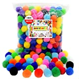 WAU Crafts 300 Pieces - 1 inch Pom Pom Balls, Assorted Colored Pompoms for Crafts, Multicolored Pom Poms Arts and Crafts and DIY in Resealable Bag