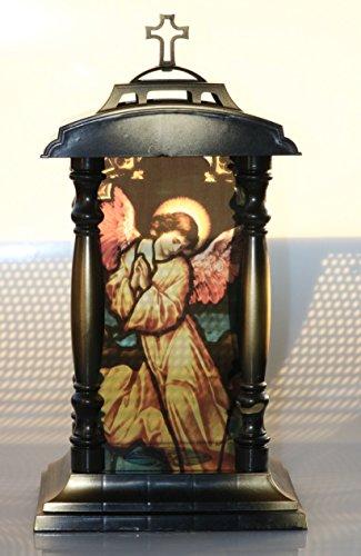 Jardín Decoración Grab Luz cama Ender ángeles Grab lámpara lateral con columnas y superior Cruz 39cm de alto