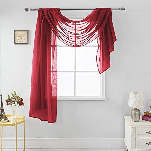 "MEMIAS Luxury Window Sheer Elegant Voile Curtain Scarf for Home, Birthday Party, Wedding Decoration, 1 Panel 54"" W x 144"" L, Merlot"
