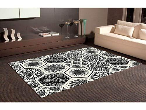 Oedim Tapis Carpette en PVC Motifs Imitation Mosaïque Hexagone Noir et Blanc Céramique Zellige Marocain Imitation Carreaux de Ciment Imitation | 95 cm x 200 cm | Déco Maison