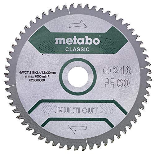 Metabo Disco sierra circular HW/CT 216 x 30 x 2,4/1,8, Número de dientes 60, dientes planos trapezoidales, Ángulo de inclinación 5° neg