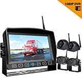 "Wireless Backup Camera with 7"" Monitor for RV/Trailer, Digital 1080P Waterproof Front/Rear View + Side View Camera"