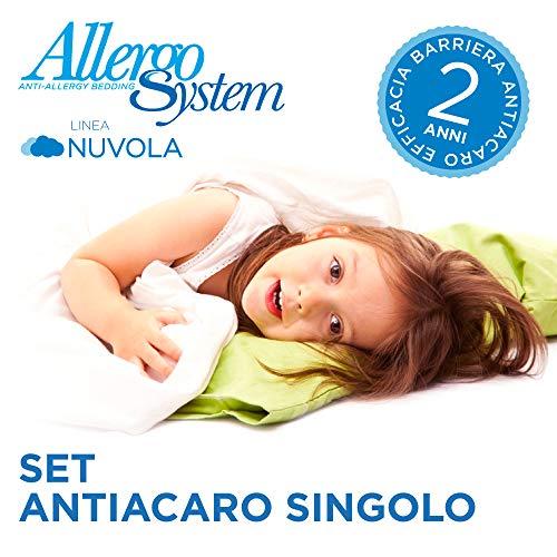 Allergosystem Set Antiacaro Nuvola Composto da coprimaterasso con Cerniera per Letto Singolo, 80x190x20cm e copricuscino, 50x80cm, 100% Polipropilene