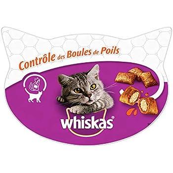 Whiskas Friandises pour le contrôle des boules de poils chez le chat, 8 boîtes de 60g de récompenses