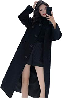 Howely Women Autumn Slim Single Button Long Turn Down Collar Jacket Coat