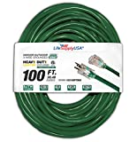 100 ft Extension Cord 10/3 SJTW with Lighted end - Dark Green- Indoor / Outdoor Heavy Duty Extra Durability 15 AMP 125 Volts 1875 Watts ETL Listed - by LifeSupplyUSA