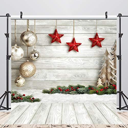AIIKES 2.4x2.4M/8x8FT Bolas de Fondo Navidad Estrellas Nieve Tierra Fondos de Fotografía de Pared de Madera Fondos Fotográficos Personalizados para Estudio Fotográfico 10-383