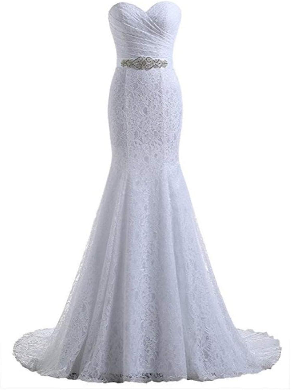 Bridal Wedding Gown Real Photos White Lace Mermaid Wedding Dress Train 2019 Vintage Sash Vestido De Noiva (Size   XL)