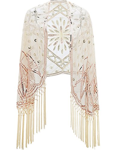 Metme Women's 1920s Scarf Wraps Sequin Deco Fringed Wedding Cape Evening Shawl Vintage Prom Apricot