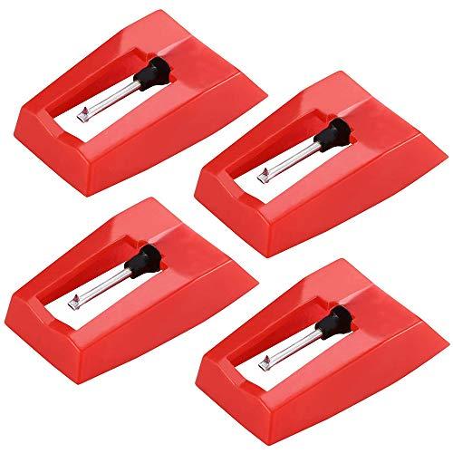 Limeow Ersatz Plattenspieler Nadeln Rot Plattenspieler Nadel Vintage Plattenspieler Nadel Plattenspieler Diamant Plattenspieler Ersatz Rot für Plattenspieler Phonograph Plattenspieler 4 Stück