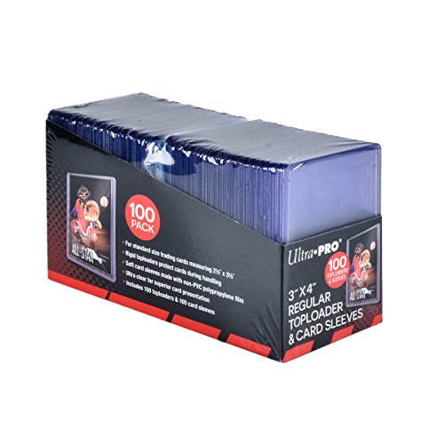 """Ultra Pro 3"""" x 4"""" Toploaders and Clear Sleeves for Collectible Trading Cards (Includes 100 toploaders and 100 Sleeves)"""