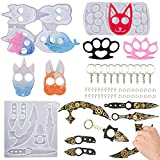 Silicone Resin Mold Keychain, 3Pcs Portable Anti-Wolf Ninja Weapon Animal Pendant Keychains Molds, Epoxy Molds for Touchless Brass Knuckles Weapons Unicorn Mold Keychains with 10pcs Key Rings