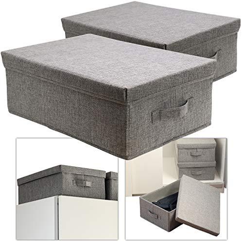 Hausfelder ORDNUNGSLIEBE Aufbewahrungsbox groß mit Deckel - Box Set 44x30cm zur Aufbewahrung, Stoff Ordnungsbox einsetzbar als Aufbewahrungskiste (2 Stück)