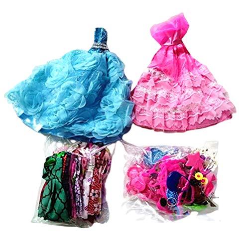 Chilits 73 Stück Kleidung Schmuck Zubehör Für Puppenkleidung Set, 2 Kleider Brautkleider+16 Freizeitröcke+55 Accessoires inklusive Absätzen Kleiderbügel Schmuck Set für 11,5-Zoll-Puppe