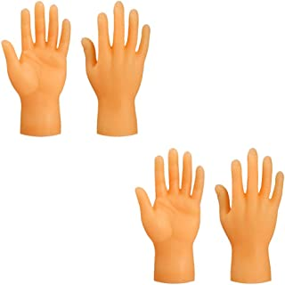 FRCOLOR 4pcs Hand Finger Puppet Tiny Rubber Five Finger Hands Left Right Hands Party Prank Toy Props for Party Game Gag Fi...