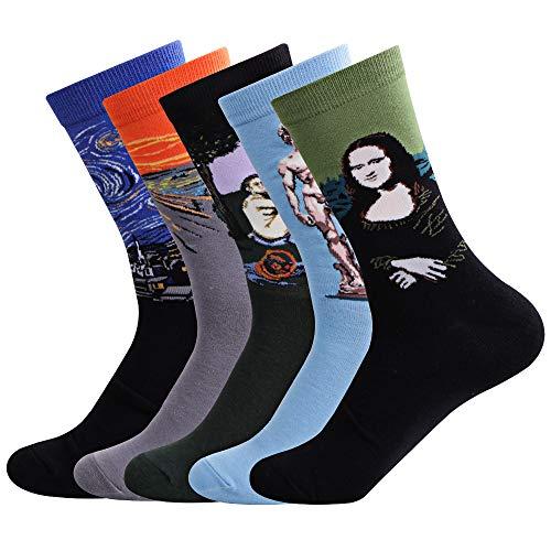 Ambielly Hombres Gracioso Calcetines Vistoso Algodón Novedad Personal Calcetines Estampado Miedoso Moda Casual Vestido Calcetines (LB00007C)