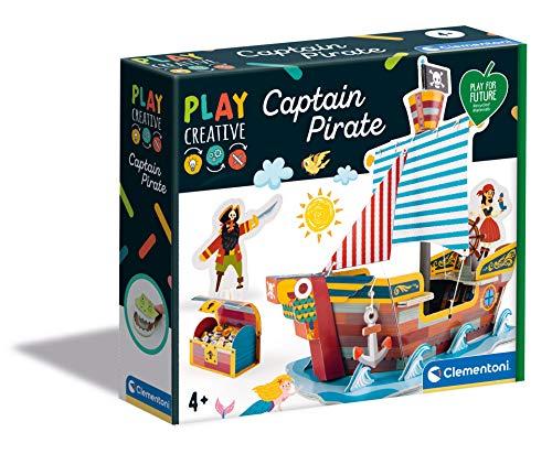 Clementoni 18552 Play Creative-Barco Pirata-Fabricado en Italia-Kit de Arte y Manualidades para niños a Partir de 4 años-Cartón y Papel Artesanal, inglés, Multicolor