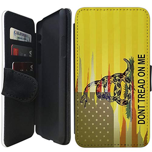 Flip Wallet Case Compatible with iPhone XR (Dont Tread On Me Best Flag) with Adjustable Stand and 3 Card Holders | Shock Protection | Lightweight | Includes Free Stylus Pen by Innosub