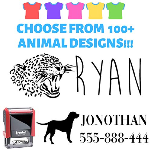 Create Your Stamp � Clothes Stamp Label Custom. Elephant or Eagle or Horse! Stamp Your Clothes with Your Custom Name. Great for Kids T-Shirts Clothing Stamp Personalized. 1 or 2 Line Stamper.