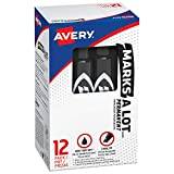 Marks-a-lot Avery Permanent Marker, Regular Chisel Tip, Black (07888), 12 markers