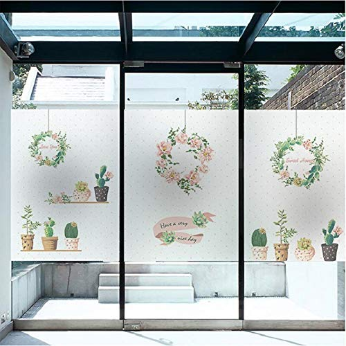Custom Size Botanic Pattern Fresh Glass Sticker Static Cling Home Decoration Stained Antiseptic Sun-Block Opaque Removable Foil