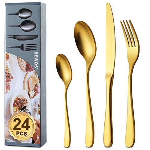 BEWOS Juego de cubiertos de acero inoxidable, 24 piezas de cuberteria de titanio dorado y plateado: tenedores, cuchillos, cucharas de cena, cucharas, servicio para 6, apto para lavavajillas (oro mate)