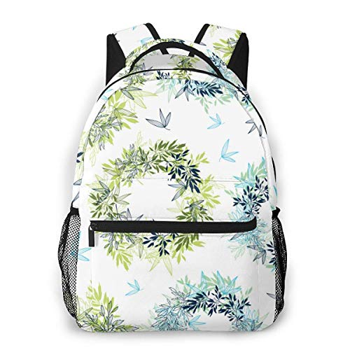 DJNGN Computer Bag Tropical Leaves Background (1) Men and Women Casual Style Canvas Backpack School Bag,