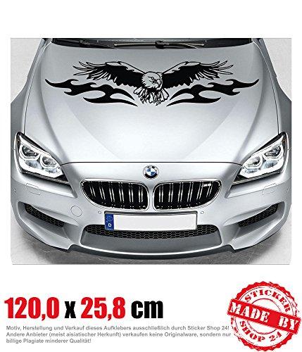 Adler Motorhaubenaufkleber 120,0 cm x 25,8 cm Auto Aufkleber JDM OEM Tuning Sticker Decal 30 Farben zur Auswahl