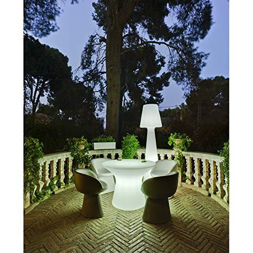 MOOVERE Neuf Mesa Redonda de luz Exterior para jardín H75cm Mesa iluminada para Exterior, terraza (Blanco - Cable)
