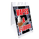 """SignMission Vapes & E-Liquids A-Frame Sidewalk Sign with Graphics On Each Side   24' X 36' Print Size   Heavy Duty, 24""""x36"""