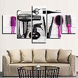 Salón de belleza moderno Pintura decorativa en lienzo 5 Secadores de pelo Peine Tijeras Carteles e impresiones Sala de estar Mural Imágenes 30 * 40 * 2 30 * 60 * 2 30 * 80 cm Sin marco Sanzx