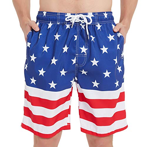 KAILUA SURF Mens Swim Trunks Long, Quick Dry Mens Boardshorts, 9 Inches Inseam Mens Bathing Suits with Mesh Lining (American Flag, L)
